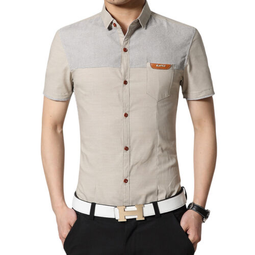 Men/'s Short Sleeve Slim Casual Shirt Button Down Formal Business Dress Shirts
