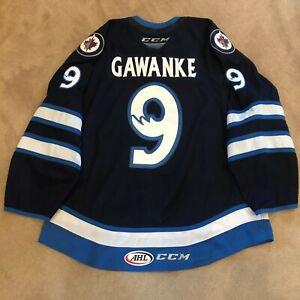 MANITOBA MOOSE 2021 AHL GAME USED WORN NAVY JERSEY LEON GAWANKE 9