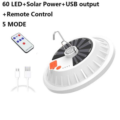 USB Portable Camping Light Solar Lantern Hanging Lamp Hook Tent Outdoor Fishing