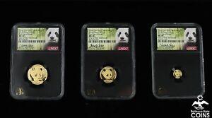 Set of 3: 2018 China Panda .999 Gold Coins NGC MS70 Signed Cheng Chao w/COA