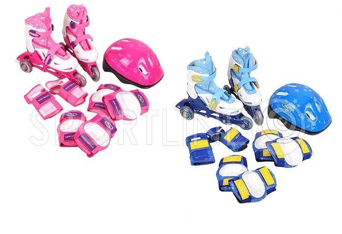 Inlineskates Rollschuhe set Helm Schutz 2in1 verstellbar 28-31 32-35 Blau Rosa