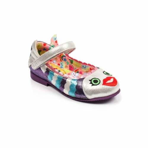 "A Irregular Choice /""Poissons visage/"" Enfants filles Argent Ballerine Chaussures"