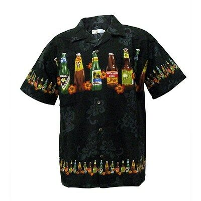 Mens Hawaiian Aloha Shirt Cruise Tropical Beach Party Black Local Beer Bottles