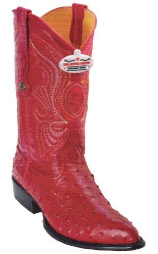 WESTERN BOOTS, LOS ALTOS OSTRICH COWBOY BOOTS J-TOE 990312 RED