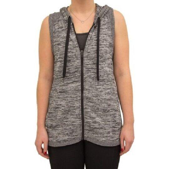 NWT Womens ACTIVE LIFE Full Zip Hooded Vest Grey Heather Size Medium M