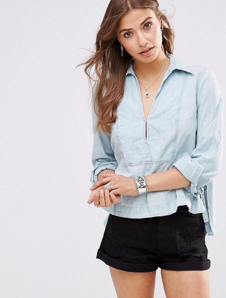 NWT FREE PEOPLE SzM READY OR NOT LONG SLEEVE LINEN HENLEY TOP RUMI WASH