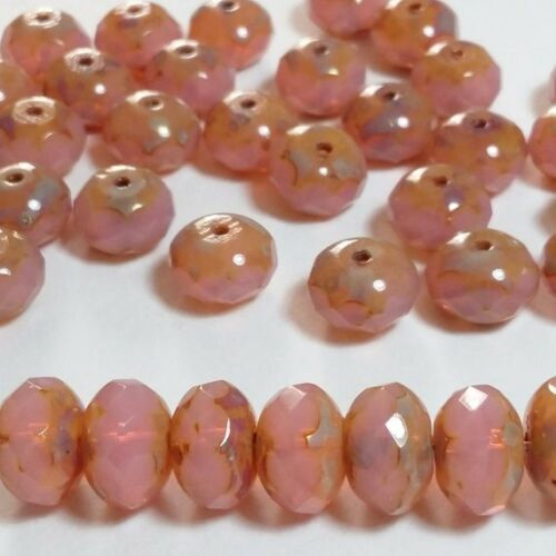 4pcs Dusty Rose Pink Picasso Czech Glass Rondelle Beads Faceted 7x11mm GB367