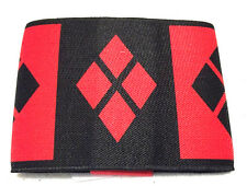 DC COMICS HARLEY QUINN BLACK RED DIAMOND LOGO ELASTIC WRIST CUFF BRACELET BAND