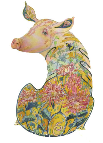 PAGAN WICCAN FINE ART GREETING CARDS Pig BIRTHDAY Animals BLANK DM COLLECTION