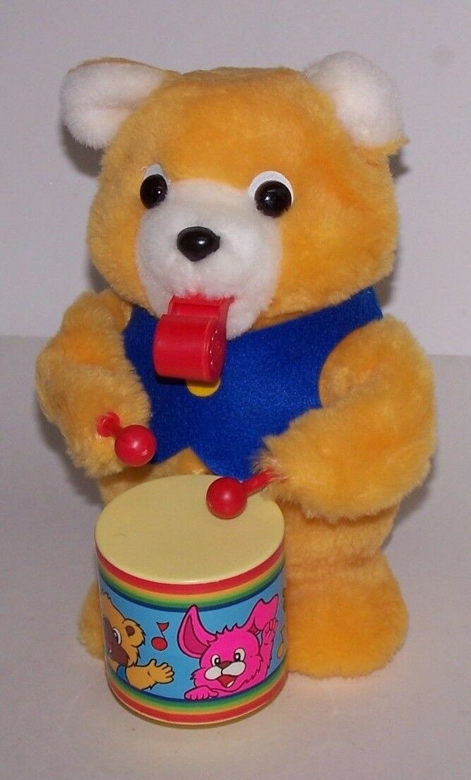 ALPS Chubby Bear The Cheerleader w Drum Battery Operated NIB