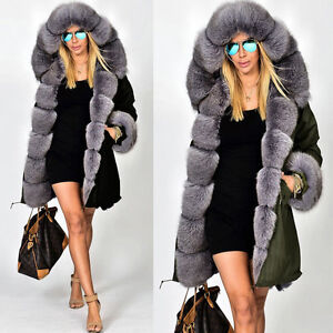 Ladies Faux Fur Winter Jacket Coat Long Hooded Parka UK Size 8 10