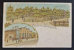 AK-Litho-Gruss-aus-GUTERGLUCK-Bahnhof-gestempelt-Goerzke-1900