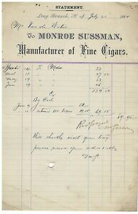 1884 Receipt James H.P. Vandewater Monroe Sussman Long Branch New Jersey