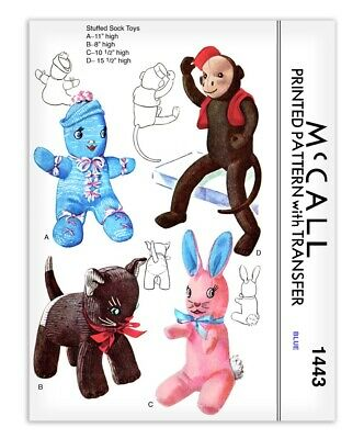 Stuffed Animal Rabbit Cat Doll Sock Monkey Sewing Pattern Bunny Toy McCall 1443