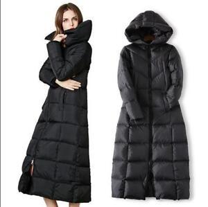 Women-039-s-Full-Length-Hooded-Long-Duck-Down-Coat-Puffer-Padded-Overcoat-Winter