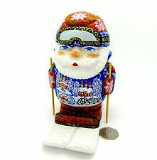 Genuine Russian Doll Father FROST Christmas RED Santa on SKI hand painted FIGURE