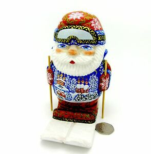 Wood-Figure-Carving-Father-FROST-Hand-Painted-Genuine-Christmas-RED-Santa-on-SKI