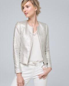 WHITE HOUSE BLACK MARKET Silver Metallic-Tweed Jacket 0P NEW $160
