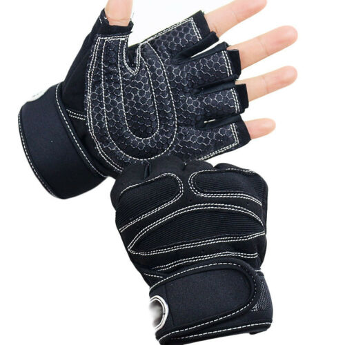 Weight lifting Gym Gloves Training Fitness Wrist Wrap Workout Exercise Sports #