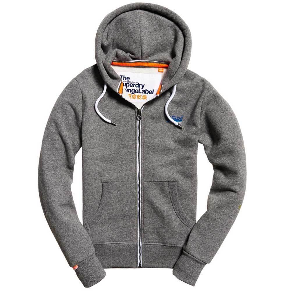 Superdry  Herren Orange Label Zip Hood Cali Ash Grau Grindle Ship Worldwide