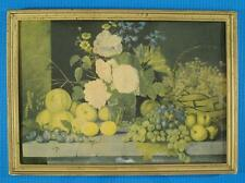 Vintage Russian painting still life Flowers and Fruits Ivan Khrutsky LITHO PRINT