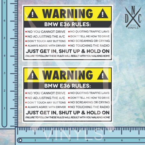 2x BMW E36 Vehicle Safety Warning Rules Sticker Decal E46 E36 M3 M5 E39 E38