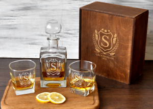 0d30bccbb58 Details about Personalized Whiskey Decanter Set Father of the Bride Gift  Engraved Rocks Glass