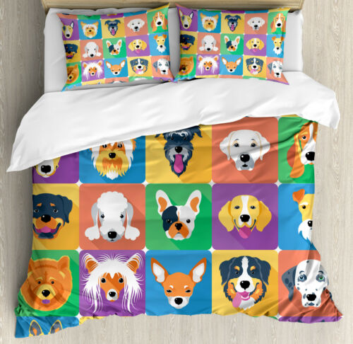 Dog Duvet Cover Set with Pillow Shams Terrier Labrador Breed Pets Print