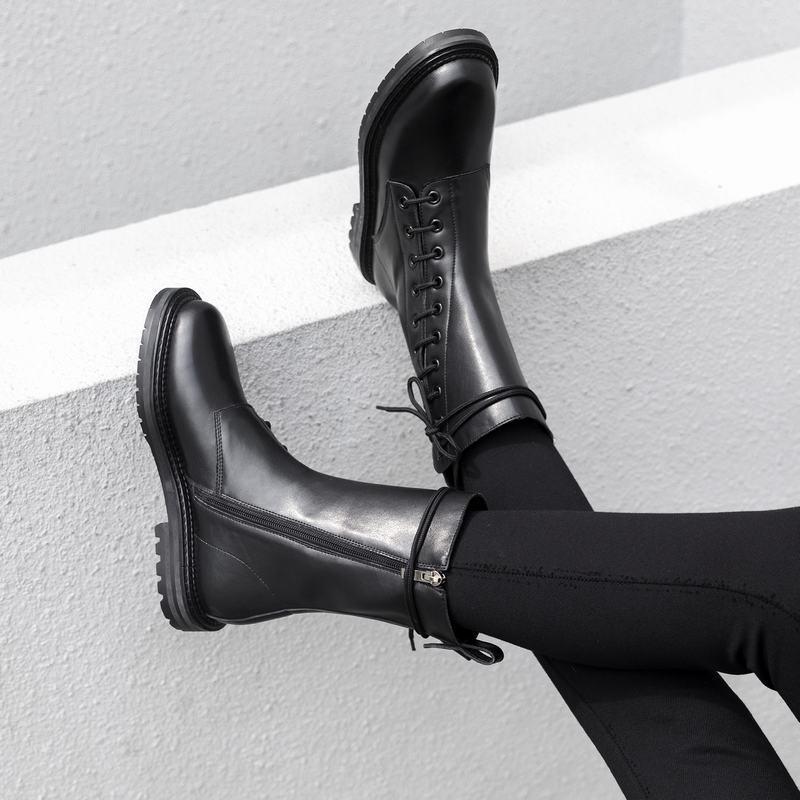 Cuero Gamuza Para Mujer Estilo Británico Con Cordones Cremallera Lateral Negro botas De Invierno a la pantorrilla para