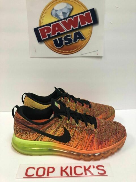 Nike Flyknit Air Max 2015 Total Orange Black Volt Fireberry 620469 801 Sz 10