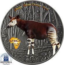 Africa Serie: Kongo 1000 Francs 2015 Antique Finish Okapi Silver Ounce in Farbe