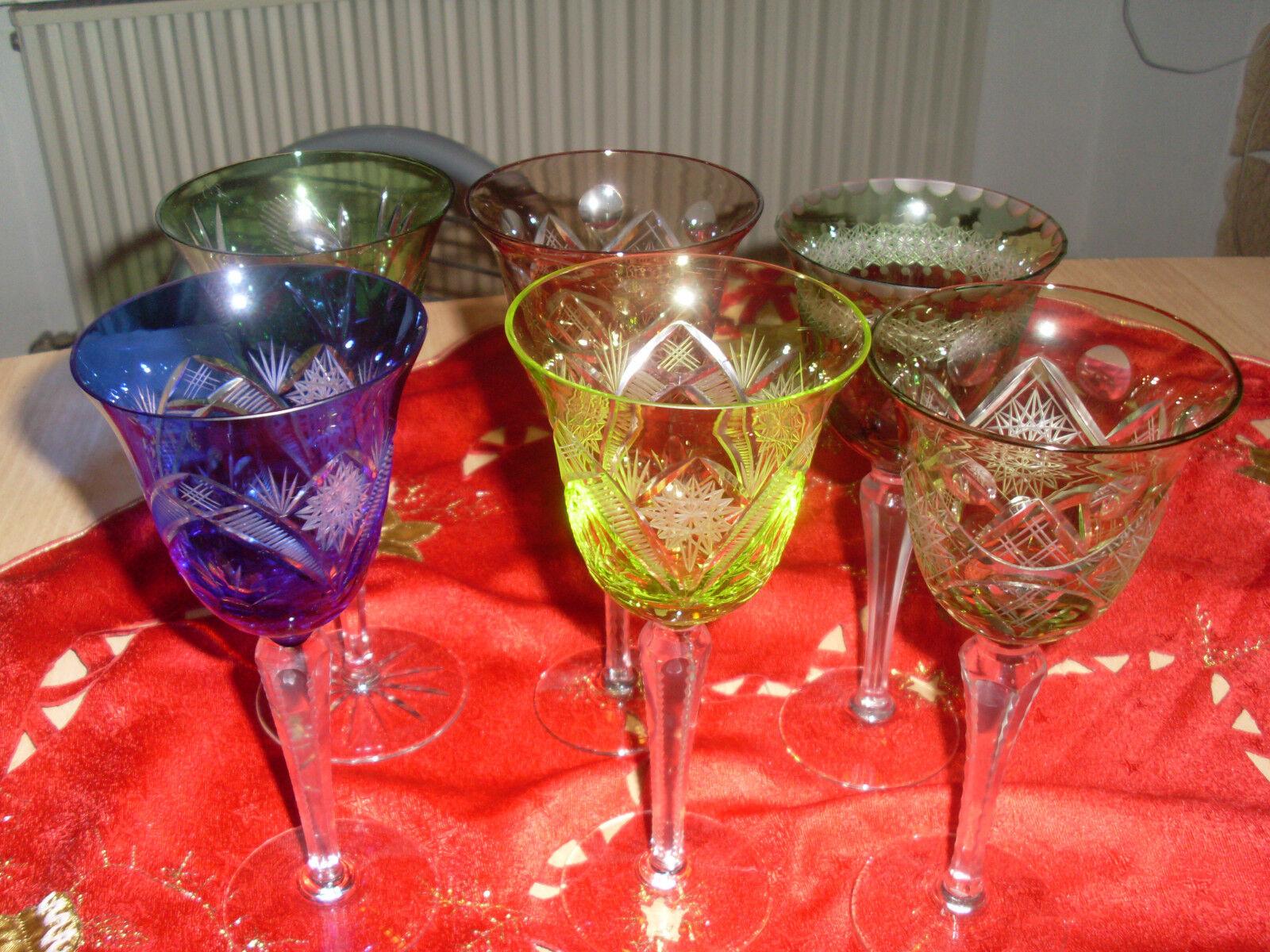 6  Kristall Kristall Kristall Weingläser versch.Farben und Größen   Hohe Qualität und geringer Aufwand  044809
