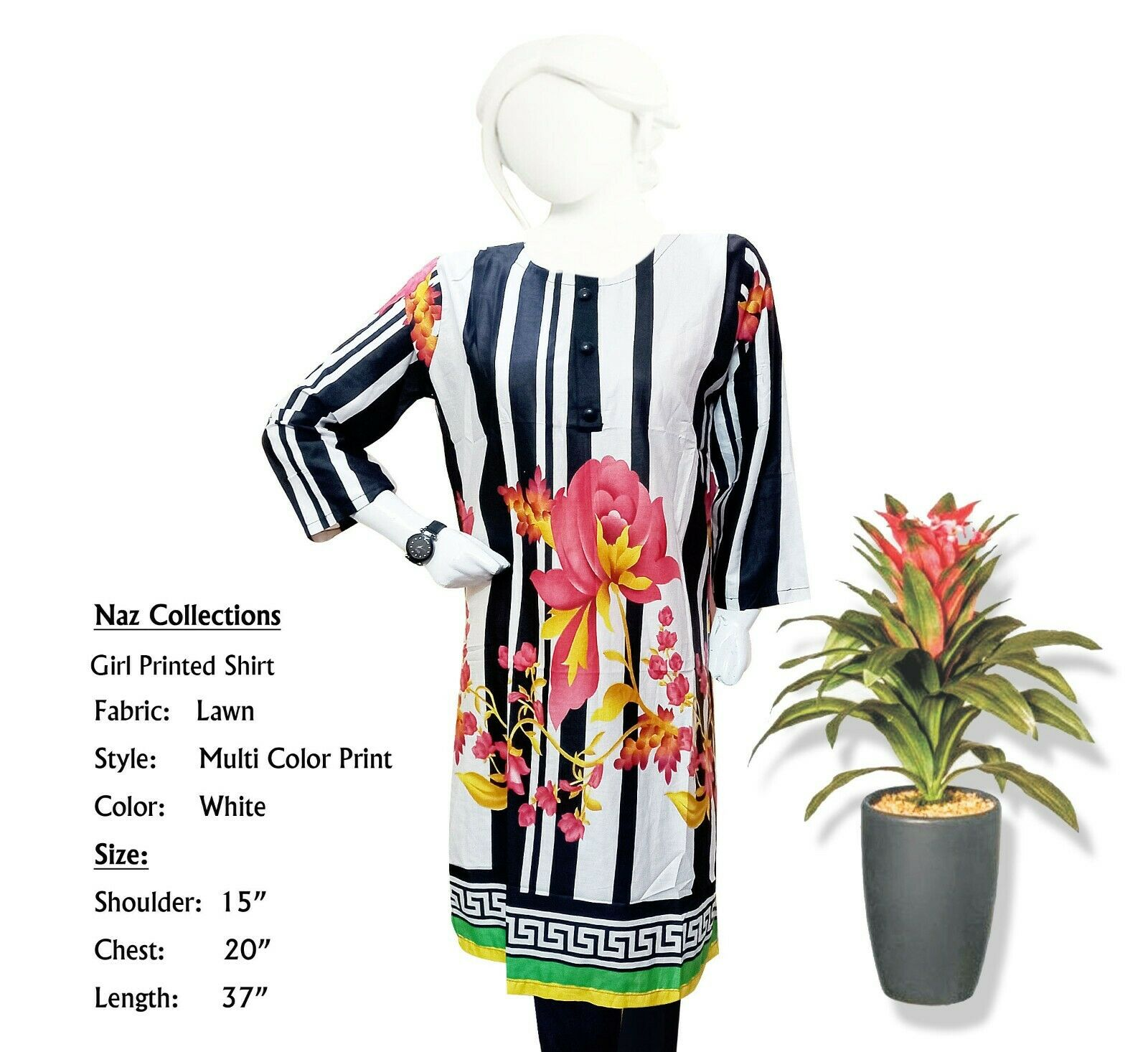 Naz Collection, Girl Multi-Color Printed Lawn Shirt, Tops, Medium