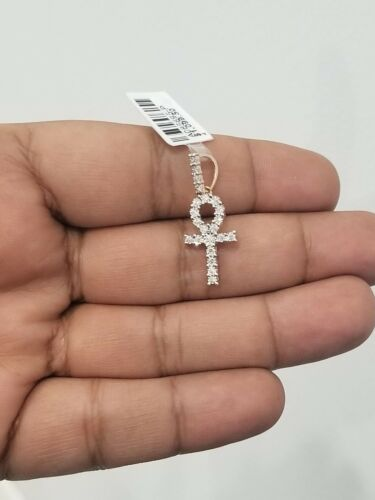 Real 10K Rose Gold Natural Diamonds Cross Ankh Egyptian Pendant Charm 0.26 Ct.