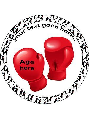 Boxing PERSONALISED 8 INCH ICING Edible Cake Topper Birthday Sport Gloves Ring