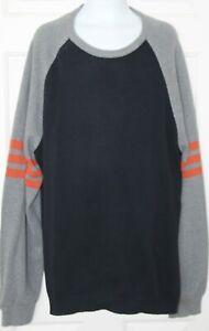 J-Crew-Size-XXL-2XL-Mens-Knit-Pullover-Sweater-Black-Gray-Cotton