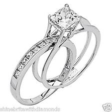 Princess Cut 2 Pcs Engagement Wedding Ring Band Set Solid 14k White Gold