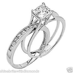 image is loading 2 ct princess cut 2 piece engagement wedding - Wedding Rings And Bands