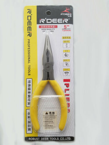 """RT501 5/"""" Professional Carbon Steel Long Nose Plier w// Cutter And Rubber Grip"""