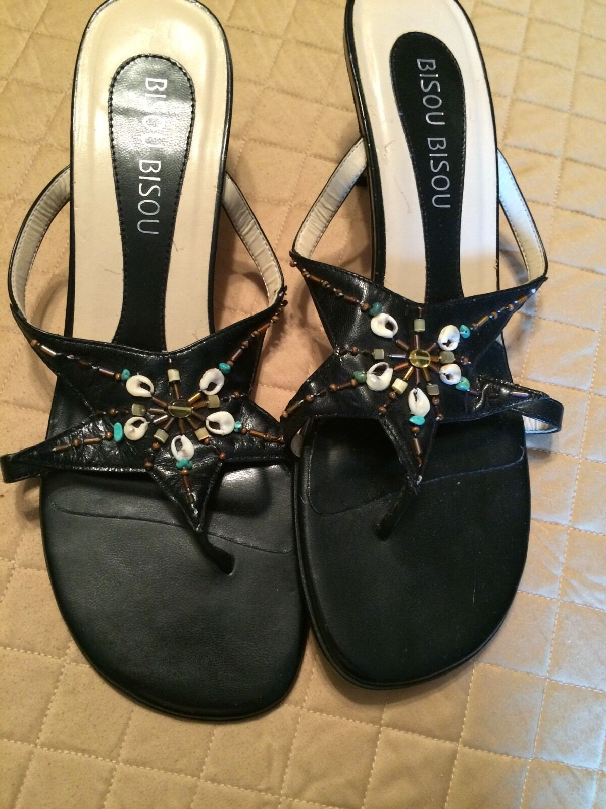 Ladies Sandals Bisou Bisou 8-1/2 Heel Beads, Black, Leather, Med Heel 8-1/2 960e26