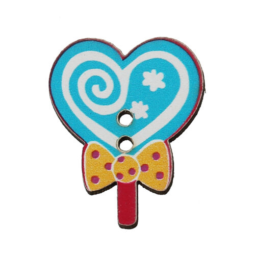 10 Wood Novelty Blue Lollipop Design Sewing Buttons 25 x 20mm  Free uk P/&P