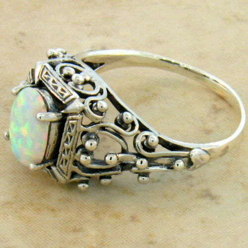 WHITE LAB OPAL ANTIQUE VICTORIAN DESIGN 925 STERLING SILVER RING SIZE 10 #583