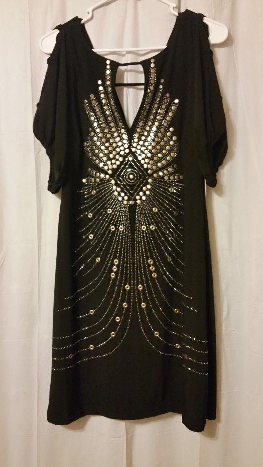 Bisou Bisou - schwarz Dress With Metallic Stud Burst Bling - Größe 8  NWT     DC2
