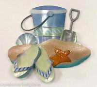 Coastal Art Designs Flip Flops, Bucket & Shovel Handmade Metal Wall Sculpture