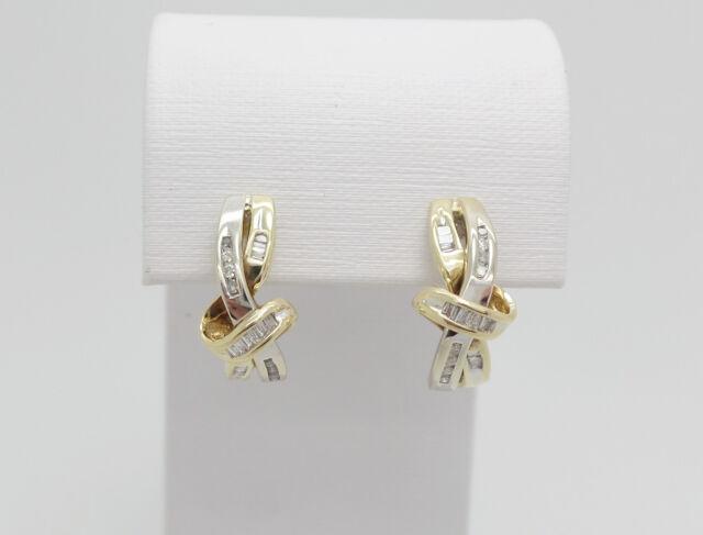 Zales 1/4CT Diamond Twist Earrings 10K Two Tone Gold