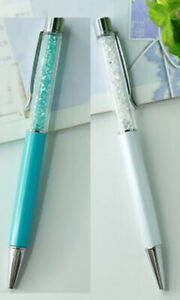 2 Crystal Ball Point Pens Made With Swarovski Crystal Elements White& Blue