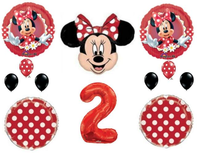Red Minnie Mouse 2nd Birthday Party Balloons Decoration Supplies