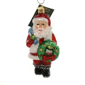 Old-World-Christmas-SANTA-WITH-WREATH-40279-N-Glass-Ornament-w-Box