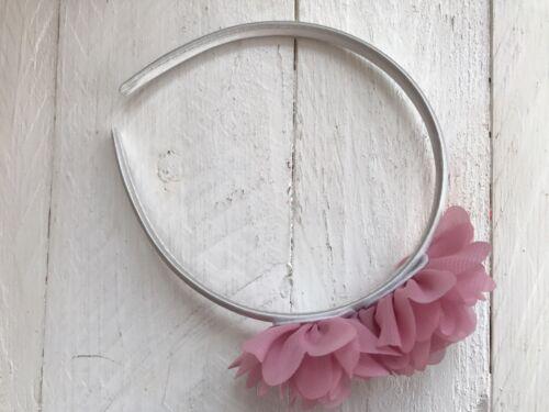 Ivory Satin Hairband Headband Dusky Pink Flowers Bridesmaid Flower Girl