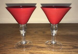 Details about 2 Colonial Ruby Gibson Red Martini Cosmo Glasses Clear Ball  Stems VERY FESTIVE